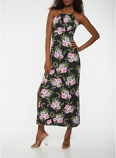 Floral Maxi Dress,BLACK,large