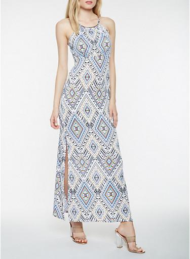 Sleeveless Printed Maxi Dress,MULTI COLOR,large