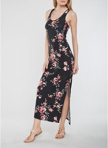 Floral Soft Knit Maxi Tank Dress,BLACK,large