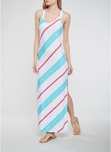 Striped Maxi Racerback Tank Dress,WHITE,large