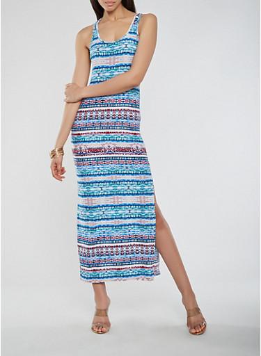 Printed Soft Knit Maxi Tank Dress,MULTI COLOR,large