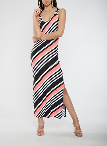 Striped Maxi Tank Dress,NEON ORANGE,large