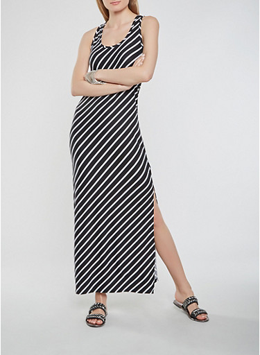Striped Soft Knit Tank Dress,BLACK,large