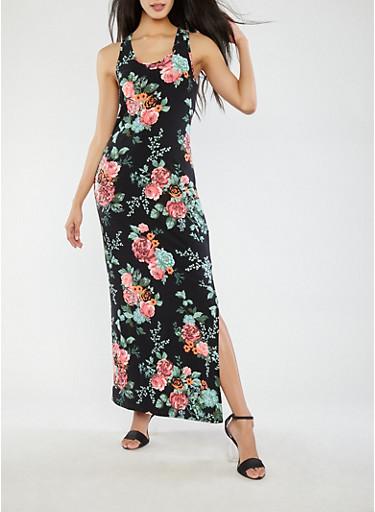 Soft Knit Maxi Tank Dress,BLACK,large