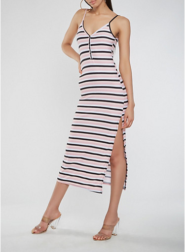 Striped Midi Tank Dress,WHT-BLK,large