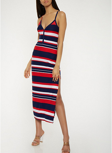 Striped Maxi Tank Dress,NAVY,large