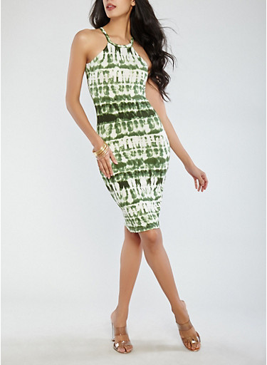 Tie Dye Tank Dress,OLIVE,large