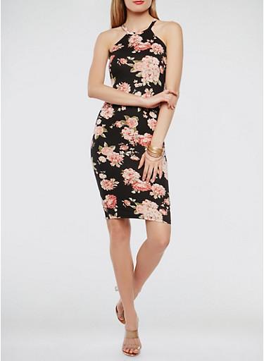 Floral Tank Dress,BLACK,large