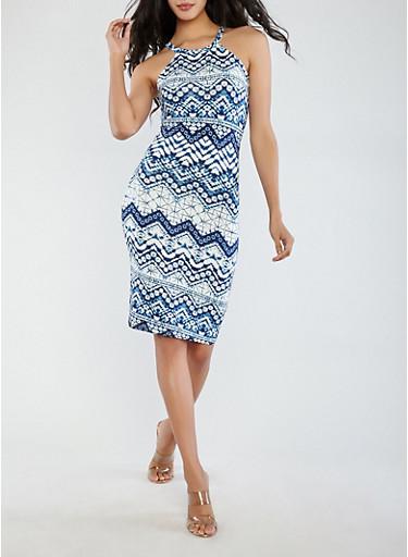 Soft Knit Printed Tank Dress,NAVY,large