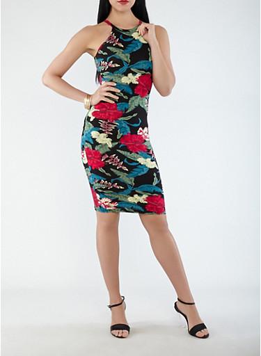 Soft Knit Floral Tank Dress,BLACK,large