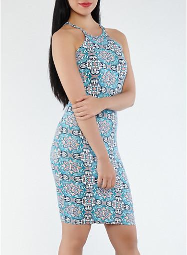 Printed Tank Dress,TEAL,large
