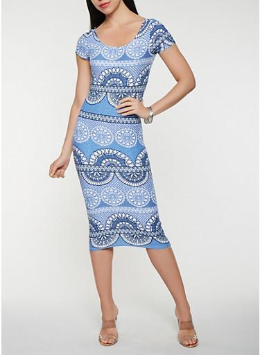 Printed Soft Knit T Shirt Dress,DENIM,large