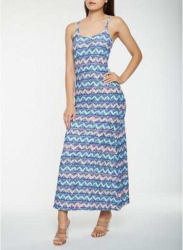 Printed Soft Knit Tank Maxi Dress,BLUE,large