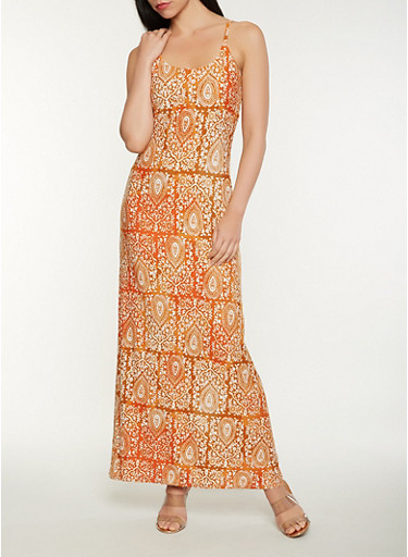 Printed Soft Knit Tank Maxi Dress,RUST,large