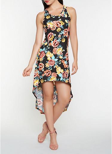 Printed High Low Tank Dress,BLACK,large