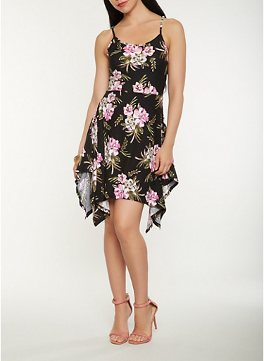 Floral Print Tank Dress,BLACK,large