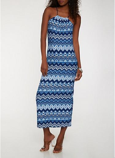 Printed Maxi Tank Dress,NAVY,large