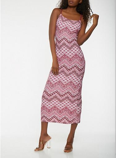 Printed Maxi Tank Dress,MAGENTA,large