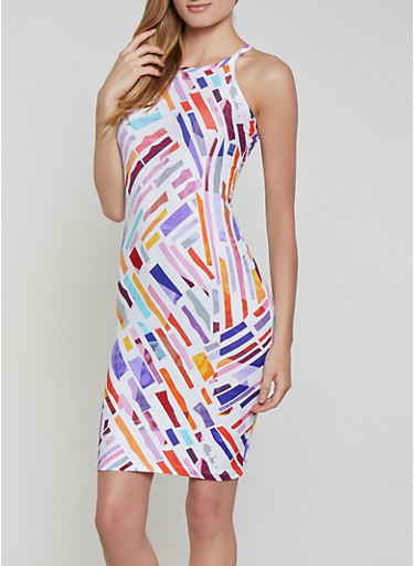 Multi Color Printed Bodycon Dress,WHITE,large