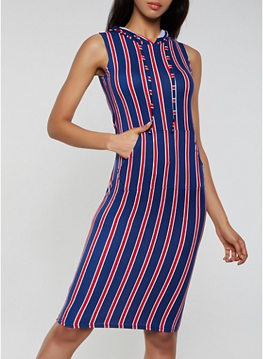 Striped Sleeveless Hooded Tank Dress,NAVY,large