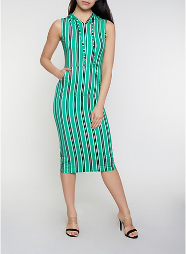 Striped Soft Knit  Hooded Dress,KELLY GREEN,large