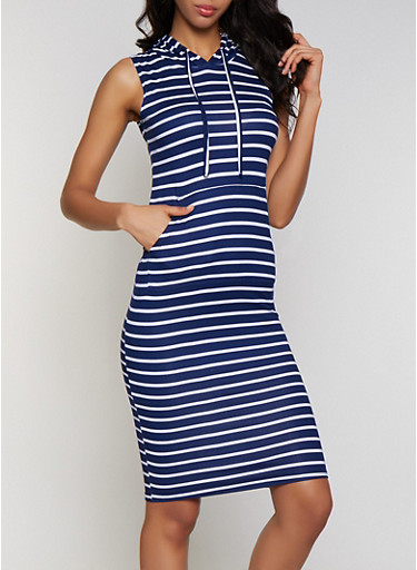 Hooded Striped Tank Dress,NAVY,large