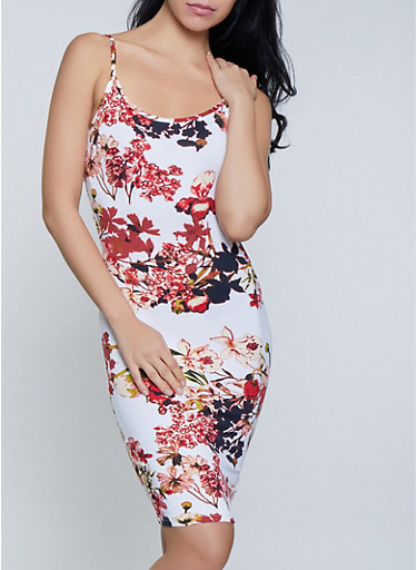 Floral Cami Tank Dress,IVORY,large
