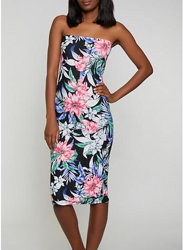 Floral Tube Dress,BLACK,large