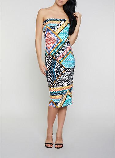 Printed Soft Knit Midi Tube Dress | 0094038349077,MULTI COLOR,large