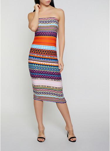 Tribal Print Tube Dress,NAVY,large