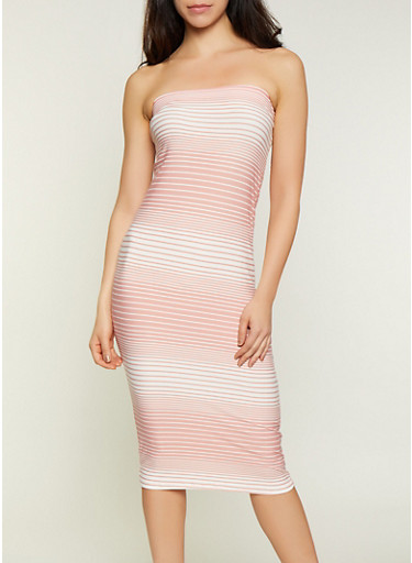 Striped Tube Dress | 0094038349080,MAUVE,large