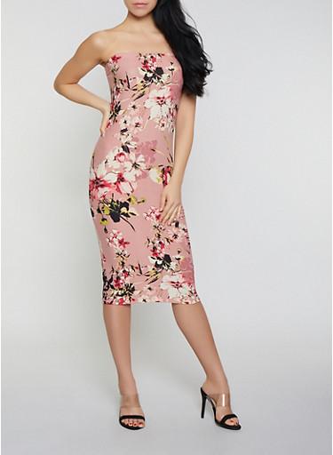 Floral Soft Knit Tube Midi Dress,MAUVE,large