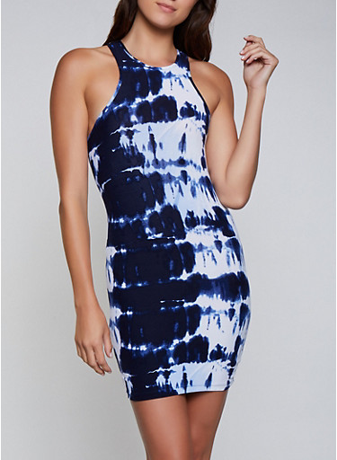 Racerback Tie Dye Tank Dress,NAVY,large