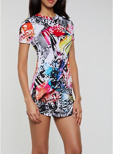 Graphic Print T Shirt Dress,MULTI COLOR,large