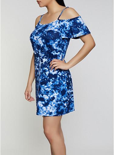 Tie Dye Cold Shoulder Dress,NAVY,large