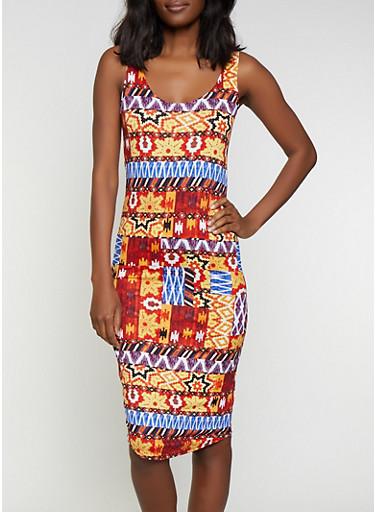 Aztec Print Bodycon Tank Dress,RUST,large