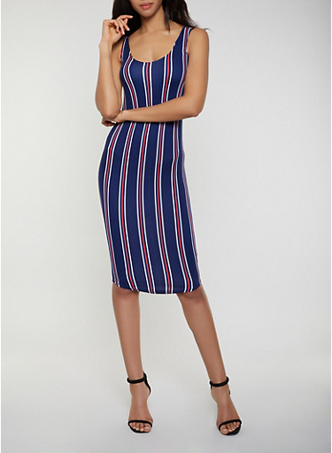 Striped Scoop Neck Tank Dress | 0094038349474,NAVY,large