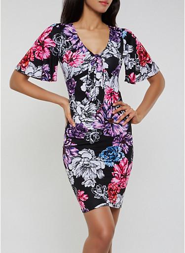 Floral Tie V Neck Dress,BLACK,large