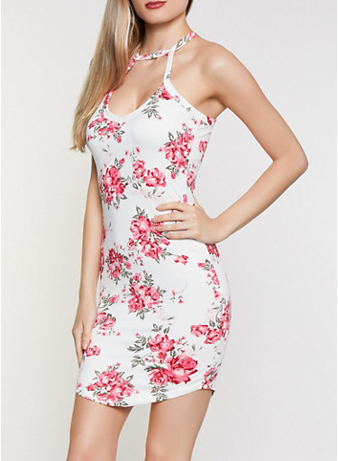 Choker Neck Floral Bodycon Dress,IVORY,large
