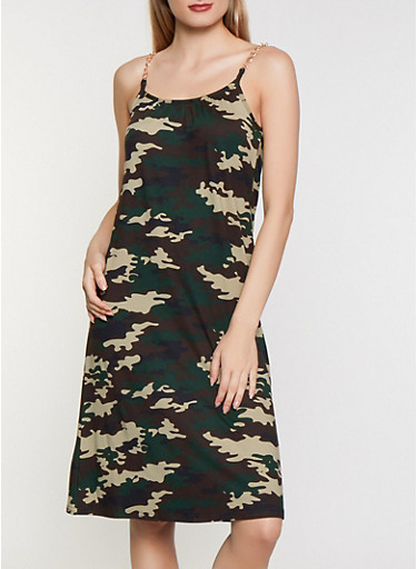 Chain Strap Soft Knit Camo Dress,OLIVE,large