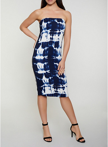 Striped Tape Printed Tube Dress by Rainbow