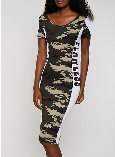 Flawless Printed T Shirt Dress,OLIVE,large