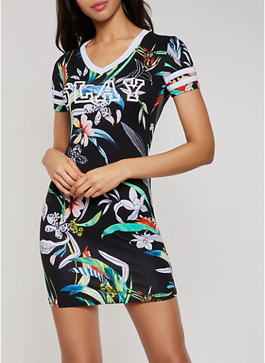 Slay Floral T Shirt Dress,BLACK,large