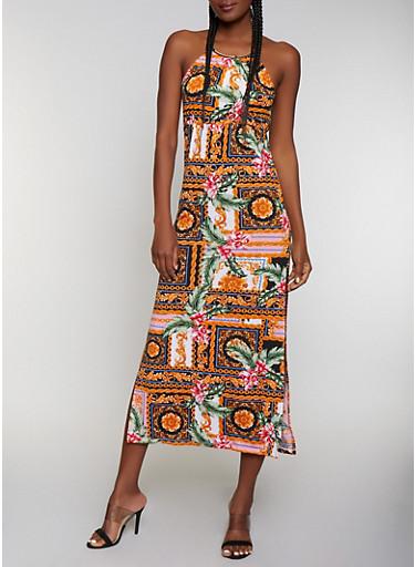 Metallic Neckline Mixed Print Maxi Dress,BLACK,large