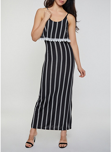 Crochet Trim Striped Maxi Dress,BLACK/WHITE,large