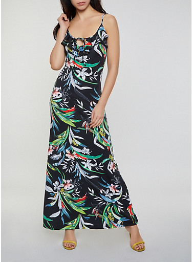 Floral Leaf Print Maxi Dress,BLACK,large