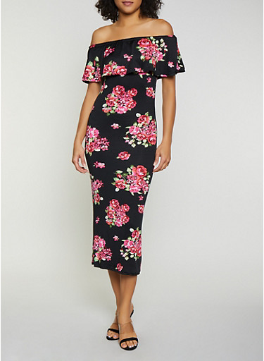 Floral Ruffled Off the Shoulder Maxi Dress,BLACK,large
