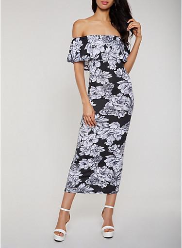 Floral Ruffle Off the Shoulder Maxi Dress,BLACK,large