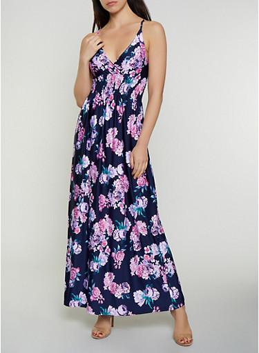 Sleeveless Floral Midi Dress,NAVY,large