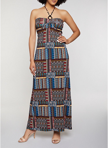 Beaded Halter Neck Printed Maxi Dress,MULTI COLOR,large